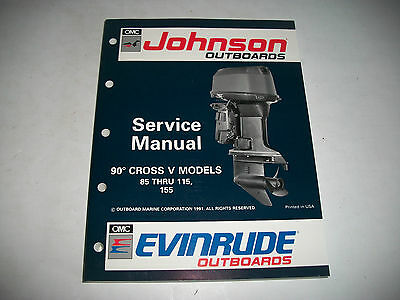 1992 Johnson Evinrude 85 Thru 115 155  Outboard Service Manual #508145 Clean