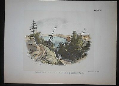 Scarce Hand Color 1842 Litho Lower Falls At Rochester New York Genessee