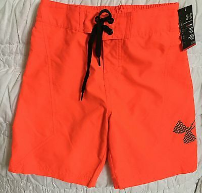 NWT Boy's Under Armour Orange Swim Trunks Board Shorts Sz 5