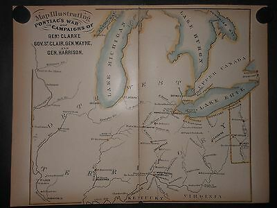 Pontiacs War 1763 Map Hand Colored Northwest Territory Forts Indians