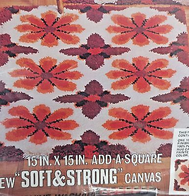 """Red Heart Latch Hook Rug Pattern 6607-05 Fantasia 15""""X 15"""" Add a Square New"""