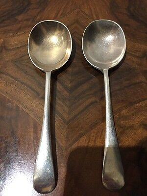 Pair 2 Silver (Embassy) Plate Antique 1930s Vintage Soup Spoons Kitchen