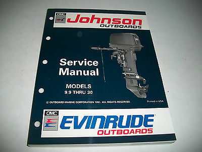 1992 Johnson Evinrude 9.9 Thru 30 Outboard Service Shop Manual #508142 Clean