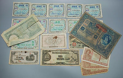 LOT of WW1 & WW2 Paper Money Austria Japanese Netherland Italy Pesos