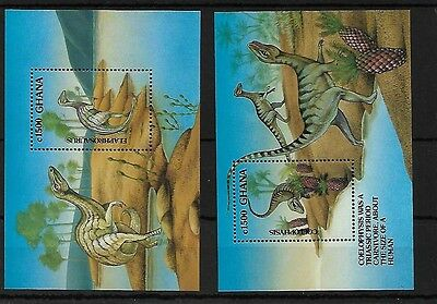 Ghana Ms1739 (2 Sheets) 1992 Prehistoric Animals, Mnh