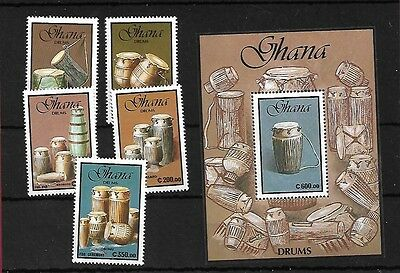 Ghana Sg1522/6 + Ms1527, 1991 Tribal Drums, Mnh, Cat £15+
