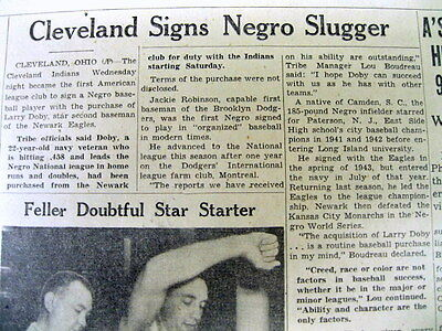 2 1947 newspaper LARRY DOBY becomes 1st NEGRO to PLAY BASEBALL n AMERICAN LEAGUE