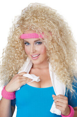 Brand New 1980s Workout Exercise Let's Get Physical Curly Hair Wig (Blonde)