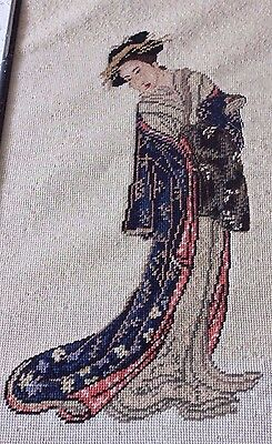 Antique Hand Emb Wool Needlepoint & Petit Point Asian Lady In Bamboo Style Frame
