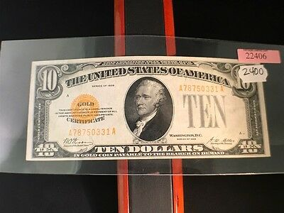 1928 US $10 Gold Certificate, Ungraded in Plastic Sleeve