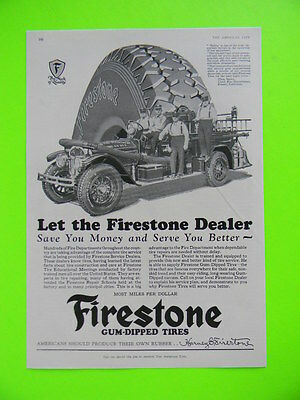 1928 FRESNO CALIFORNIA ENGINE CO. No 6 FIRE DEPT. FOR FIRESTONE TIRES ~ PHOTO AD