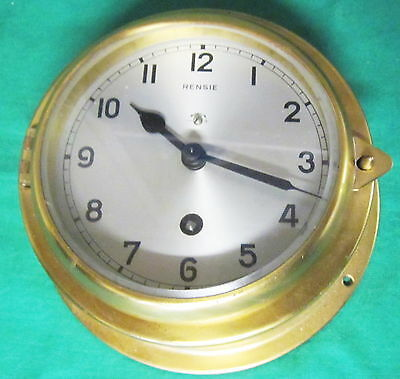 CLOCK - Nautical - Mid-1900s 6 Inch Brass Key Wind -- RENSIE