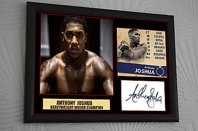ANTHONY JOSHUA   World Champion A3 Framed Canvas Print Signed Great Gift