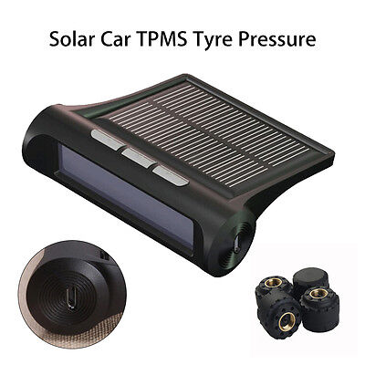 Solar Car Auto TPMS Wireless Tyre Tire Pressure Monitor System External Sensors