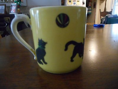 Vintage small, black cat mug/cup with handle
