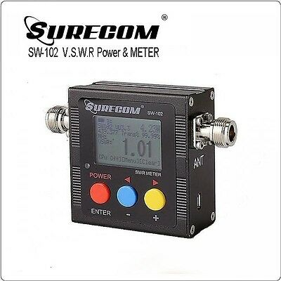 SURECOM SW-102 Digital VHF/UHF Power & SWR Meter & Frequency Counter for Radio