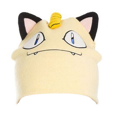 Pokemon - Meowth Face and Ears - Beanie - One Size - Cream