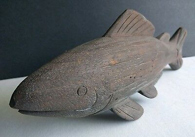 """Vintage Decorative Solid Wood Salmon Trout Fish Hand Carved Sculpture 10.75"""""""