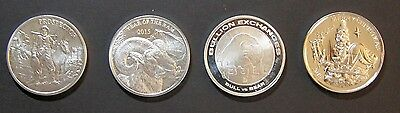 Mixed Lot of 4 Silver Rounds (3 are Elemetal Mint)  1 Troy Oz. ea, .999
