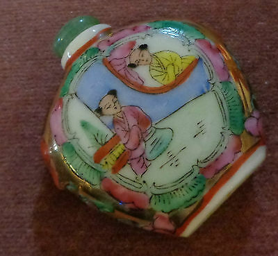 Old Oriental Hand Painted Snuff Bottlewith Jade Top/spoon
