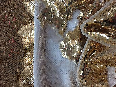 Sequins Fabric 2 Way Stretch Shiny Reversible Mermaid Gold-White By The Yard