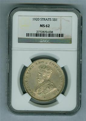 Straits Settlements 1920 King George V Dollar Ngc Ms-62 Unc