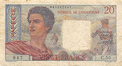 Tahiti  20 Francs  ND. 1954  P 21b  Series  C. 50  Circulated Banknote L