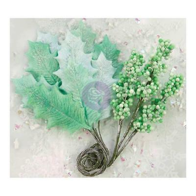 Prima Marketing Flowers - Sweet Peppermint Glittered Leaf & Berry Stems, Sant...