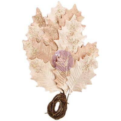 Prima Marketing Flowers - Glittered Leaf Stems 12/Pkg, Touch Of Rose; Rose Gold