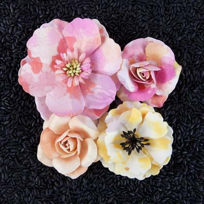 "Prima Marketing Flowers - Watercolor Mulberry Paper Flowers 2"" - 3"", 4/Pkg, R..."