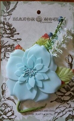 NEW Manor House Creations, Flowers, Wishes Serenity, Lt Blue