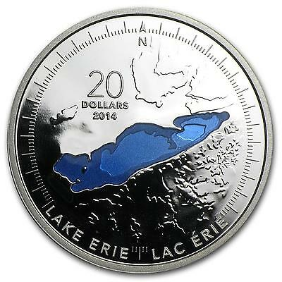 2014 $20 Fine Silver Coin 1 oz .999 The Great Lakes: Lake Erie Enameled