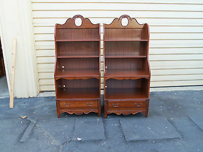 49392 PAIR Cherry Open Bookcase Curio Cabinet s w/Drawer
