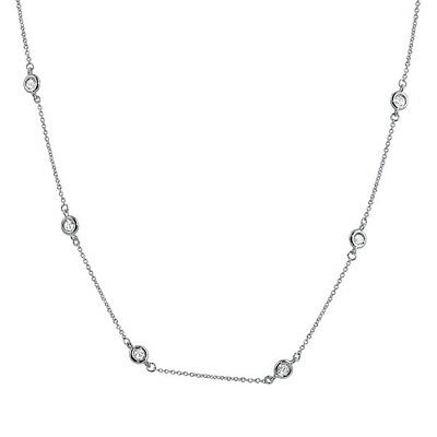 16-18in Womens Sterling Silver CZ by the Yard Fashion Necklace
