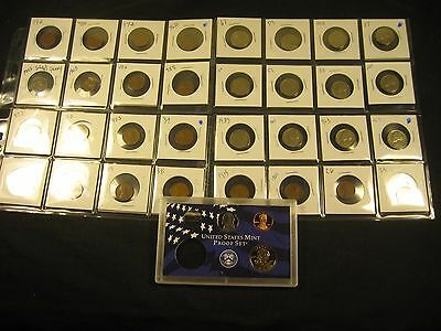 32~~Old Coins With  3 Proof Coin Set 2002-S  Sacagawea Dollar, Nickel And Penny