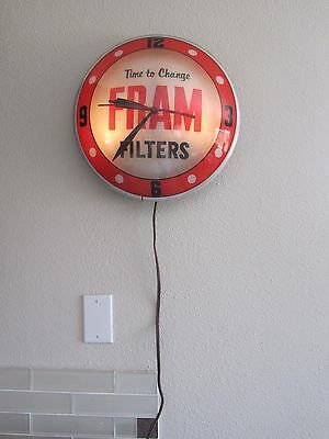 "1950's Original 15"" Fram Filters Double Bubble Glass Advertising Light Up Clock"
