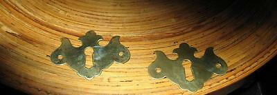 Vintage X 2 Chippendale Solid Brass Key Hole Covers