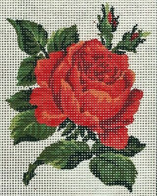 PRETTY APRICOT ROSES NEEDLEPOINT TAPESTRY canvas to stitch- 20 X 25 CM