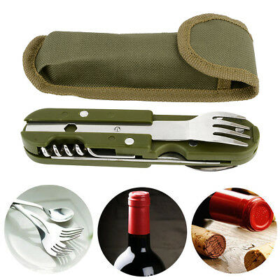 Camping Spoon Fork Cutter Bottle Opener Picnic Dinner Folding Tableware Travel