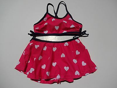 Old Navy  2 Piece Girls Swimsuit Sizes 2T And 4T Pink With White Hearts Nwt