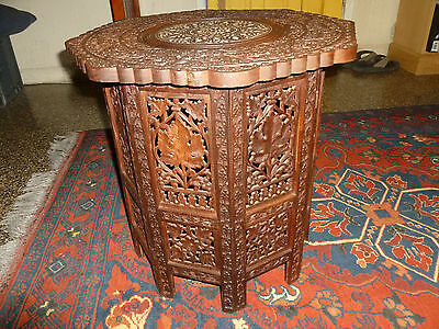 Antique Hand Carved Anglo-Indian Wood Travel Table