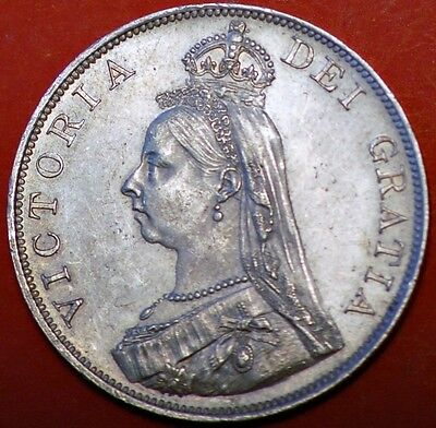 Great Britain . Victoria Double Florin 1889 . Silver Coin