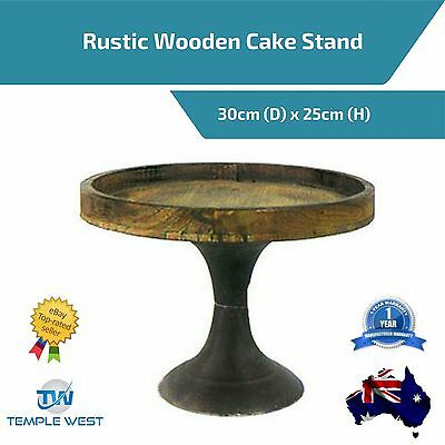 30cm Wooden Cake Stand Rustic Muffin Cupcake Wedding Party Display Round
