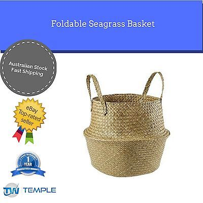 Seagrass Belly Basket Foldable Large Natural Plant Storage Handles
