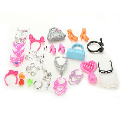 41 pcs/ Set Jewelry Necklace Earring Comb Shoes Crown Accessory For Barbie Dolls