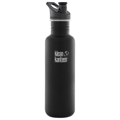 Klean Kanteen Classic 800ml Water Bottle Sport Cap Travel Gym Flask Shale Black