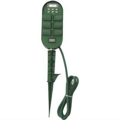 New Programmable Digital Timer Outdoor Yard Stake Six Outlets Free Utilitech
