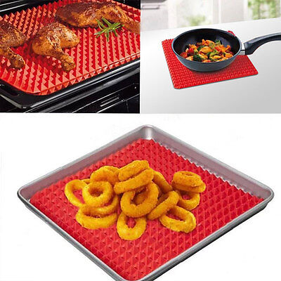 Pyramid Pan Non-Stick Fat Reducing Silicone Cooking Mat Oven Baking Tray Sheet