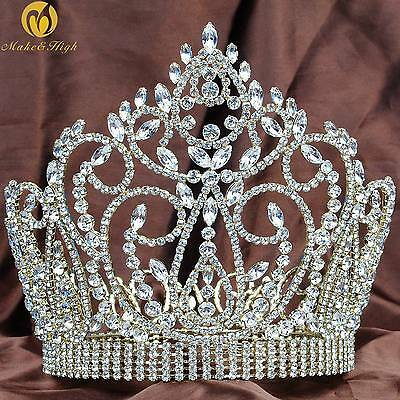"""Large 7"""" Full Round Crown Beauty Pageant Tiara Crystal Headband Wedding Prom New"""