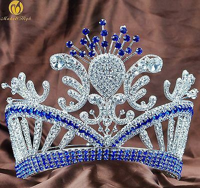 Flower Pageant Contoured Tiara Headband Rhinestone Wedding Blue Crown Prom Party